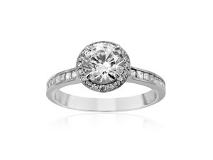 Bez Ambar Silvet Engagement Ring, Fashioned in 18K White Gold, Featuring Twenty-Two Blaze Diamonds =.31cts Total Weight and Twenty Pave Set Round Diamonds =.08cts Total Weight, Center Stone Sold Separately
