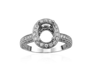 Alson Signature Collection Engagement Ring, Fashioned in 18K White Gold, Featuring 110 Round Diamonds =.80cts Total Weight, Center Stone Sold Separately