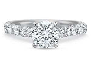 Precision Set 18K White Gold Flushfit Engagement Ring, Featuring 10 Round Diamonds =.50cts Total Weight, Center Stone Sold Separately