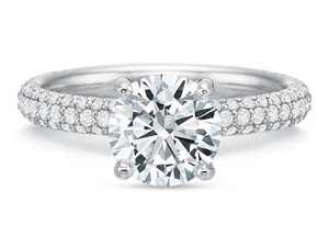 Precision Set 18K White Gold Classic Three-Row Pave Engagement Ring, Featuring 92 Round Diamonds =.46cts Total Weight, Center Stone Sold Separately