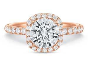Precision Set 18K Rose Gold Extraordinary Cushion Halo Diamond Engagement Ring