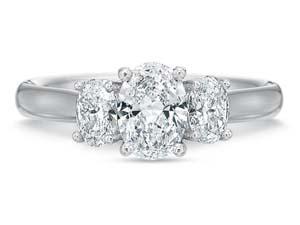 Precision Set 18K White Gold Three-Stone Diamond Engagement Ring