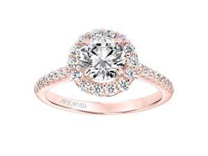 ArtCarved 14K Rose Gold Diamond Round Halo Engagement Ring