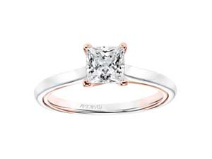 ArtCarved 14K Rose Gold Diamond Solitaire Engagement Ring