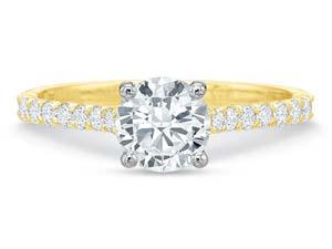 Precision Set 18K Yellow Gold & Platinum New Aire Silk Diamond Engagement Ring