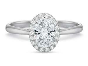 Precision Set 18K White Gold New Aire Diamond Oval Halo Engagement Ring