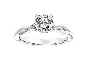 ArtCarved 14K White Gold Diamond Twisted Shank Engagement Ring