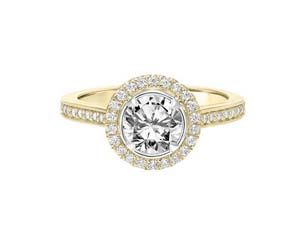 ArtCarved 14K Yellow & White Gold Halo with Bezel Diamond Engagement Ring