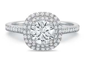 Precision Set 18K White Gold New Aire Double Halo Diamond Engagement Ring