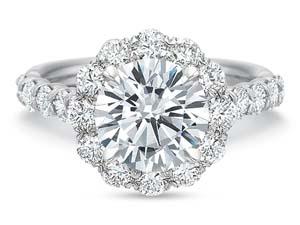 Precision Set 18K White Gold Diamond Halo Engagement Ring