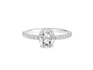 ArtCarved 14K White Gold Diamond Oval Halo Engagement Ring