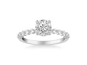 ArtCarved 14K White Gold Shared Prong Diamond Engagement Ring