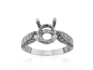 From the Alson Signature Collection, this Platinum Semi Mounting Features Thirty Six Round Diamonds =.62cts Total Weight