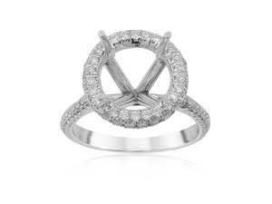 J.B. Star Halo Engagement Ring, Fashioned in Platinum and Featuring 160 Round Diamonds =.85cts Total Weight, G Color, VS Clarity, Center Stone Sold Separately