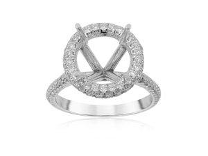 JB Star Platinum Diamond Halo Engagement Ring