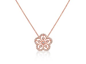 """Alson Signature Collection 14K Rose Gold 16"""" Diamond Flower Necklace"""