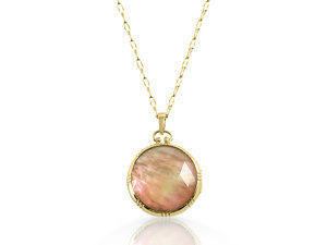 Monica Rich Kosann 18K Yellow Gold Two-Sided Round Stone Locket Necklace, Featuring Rock Crystal over Cognac Mother of Pearl Doublets, on a 30