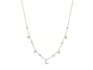 """Penny Preville 18K Yellow Gold 18"""" Hanging Moon & Star Diamond Necklace"""