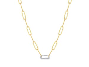 Alson Signature Collection 14K Yellow & White Gold Diamond Paperclip Necklace