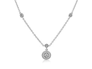 Penny Preville 18K White Gold Medium Round Engraved Pave Pendant on Chain with Two Eyeglass Settings, Featuring 18 Round Diamonds=.47cts Total Weight