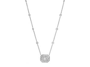 Penny Preville Pave Emerald Shape Pendant Necklace, Fashioned in 18K White Gold, Featuring One Emerald Cut Center Stone, Accented with Thirty Pave Set Round Diamonds and Ten Eyeglass Set Round Diamonds on the Chain =1.50cts Total Weight