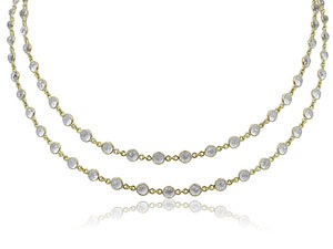 """Penny Preville 18K Yellow Gold 34"""" Moonstone Eyeglass Setting Necklace"""