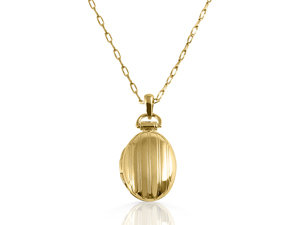 Monica Rich Kosann 18K Yellow Gold Necklace, Featuring a Petite Pinstripe Oval Locket, on a 30