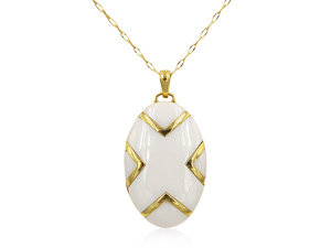 Monica Rich Kosann 18K Yellow Gold Necklace, Featuring an Oval Locket with a White Ceramic