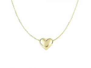 """Alson Signature Collection 14K Yellow Gold 18"""" Puffed Heart Necklace"""