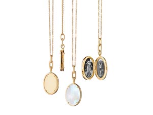 """Monica Rich Kosann 18K Yellow Gold 17"""" Mother Of Pearl Oval Locket Necklace"""