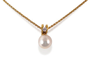 Alson Signature Collection Necklace, Fashioned in 18K Yellow Gold, Featuring an 8.5-9MM Akoya Pearl, Accented with a .07 Carat Round Diamond
