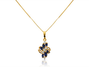 Alson Special Value 14K Yellow Gold Necklace, Featuring Six Marquise Blue Sapphires =.60cts Total Weight and Five Round Diamonds =.20cts Total Weight