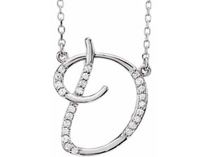 """Alson Signature Collection 14K White Gold 16"""" Diamond Initial """"D"""" Necklace"""