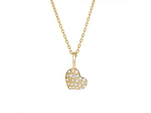 """Alson Signature Collection 14K Yellow Gold 16"""" Diamond Sideways Heart Necklace"""