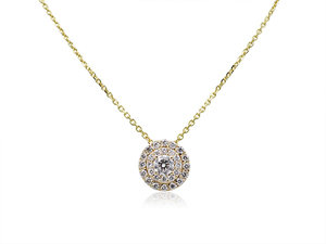 """Alson Signature Collection 14K Yellow Gold 16"""" Double Halo Diamond Necklace"""