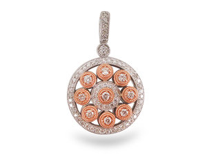 From The Alson Signature Collection, a Round Pendant, Fashioned in 14K Rose and White Gold, Featuring 69 Round Diamonds Equaling .95 Carats.