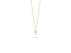 From the Roberto Coin Collection, this 18K Yellow Gold and Diamond Baby Cross Necklace Features Round Diamonds =.11cts Total Weight