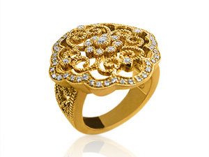 Alson Special Value, this Leslie Greene 18K Yellow Gold Carrington Ring Features Round Diamonds =.37cts Total Weight