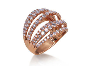 Alson Signature Collection Seven-Row Split Shank Diamond Ring, Fashioned in 18K Rose Gold, Featuring 124 Round Diamonds =2.78cts Total Weight