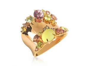 Brumani 18K Rose Gold Multi Stone Ring, Featuring Diamonds =.06cts Total Weight, Chrysoberyl =1.16cts Total Weight, Lemon Quartz =1.05cts Total Weight and Mandarin Garnet =1.54cts Total Weight