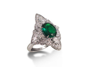 Alson Signature Collection Ring, Fashioned in 18K White Gold, Featuring a 1.44 Carat Oval Emerald, Accented with Four Pear Shaped Diamonds =.61cts Total Weight and Fifty-Two Round Diamonds =.83cts Total Weight