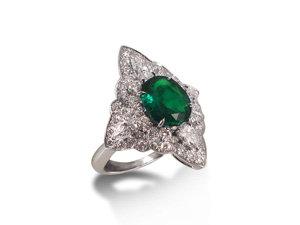 Alson Signature Collection 18K White Gold Emerald & Diamond Ring