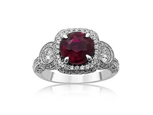 JB Star platinum ruby and diamond ring.  2.07ct  round ruby with 118 round diamonds, 1.50ct.