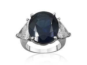 Alson Signature Collection Platinum Sapphire & Diamond Engagement Ring