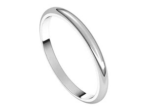 Alson Signature Collection 14K White Gold 2MM Half Round Band