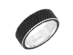 ArtCarved 14K White Gold 7MM Black Diamond Band, Featuring 375 Round Black Diamonds =3.15cts Total Weight