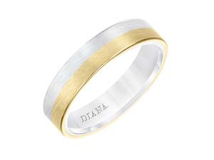 ArtCarved Men's 5MM Flat Band, Fashioned in 14K White and Yellow Gold, with Satin Finish