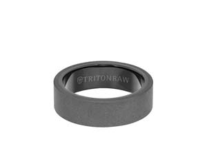ArtCarved Men's Raw Tungsten Sandblast Finish 7MM Band, with Black Coated Tungsten Interior