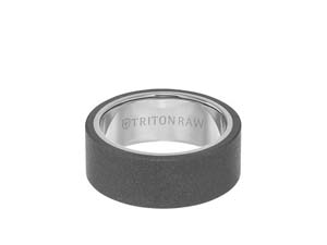 ArtCarved Men's Raw Tungsten Sandblast Finish 9MM Band, with White Tungsten Interior