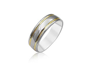 Alson Signature Collection 19K White Gold & 18K Yellow Gold 6.5MM Band